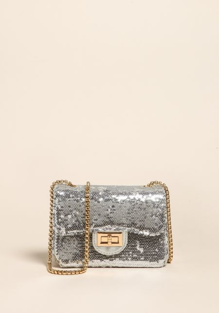 Silver Sequin Mini Crossbody Bag