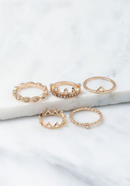 Gold Rhinestone Rings Set
