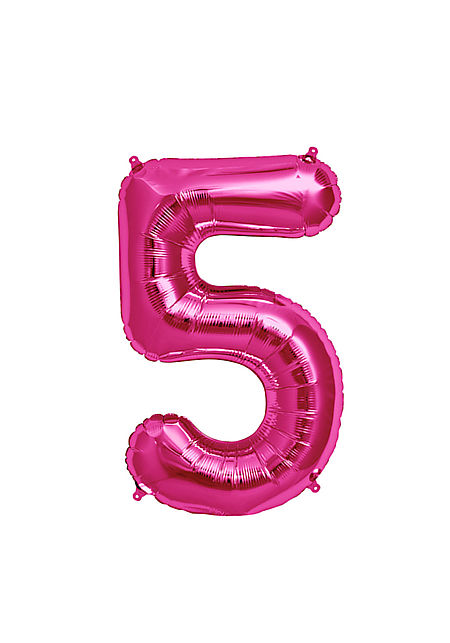 No. 5 Xtra Large Magenta Foil Balloon