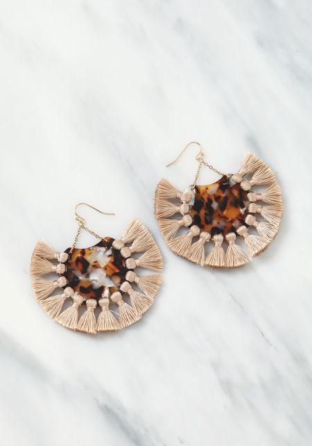 Taupe Resin Tassel Earrings