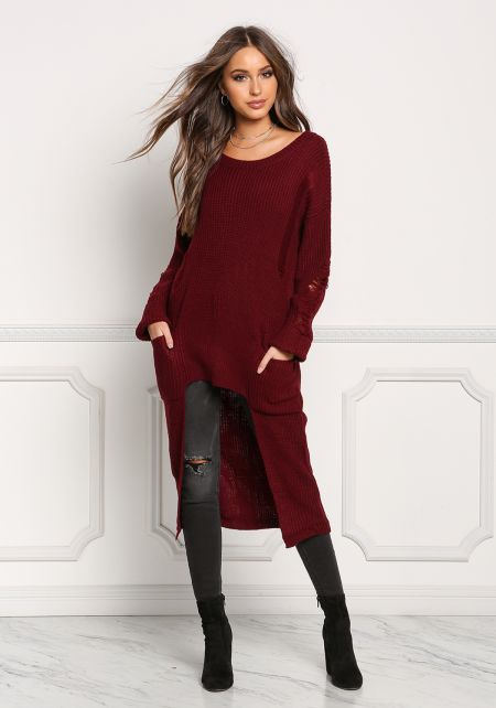Burgundy Frayed Hi-Lo Sweater Top