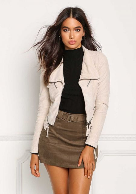 Cream Suedette Zip Up Cropped Moto Jacket