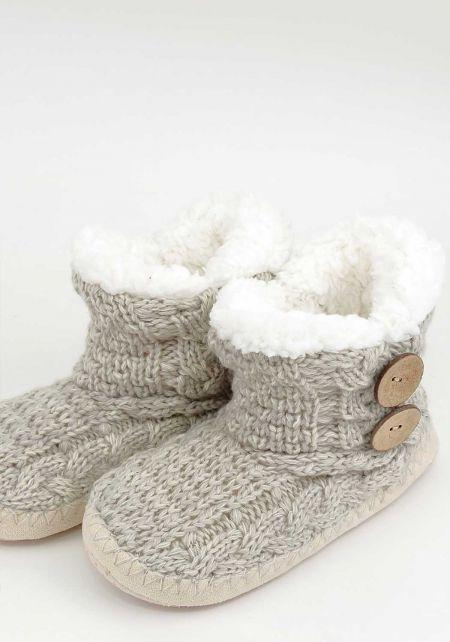 Grey Faux Fur Yarn Bootie Slippers