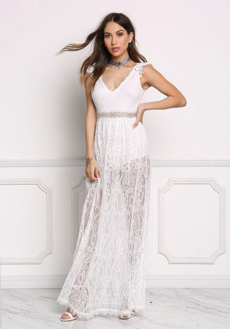 White Floral Lace Cut Out Maxi Dress