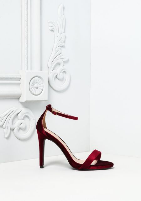Wine Velvet Ankle Strap Heels
