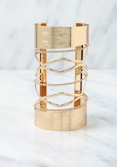 Gold Textured Cut Out Cuff Bracelet