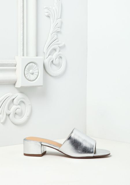 Silver Metallic Leatherette Slide Sandals