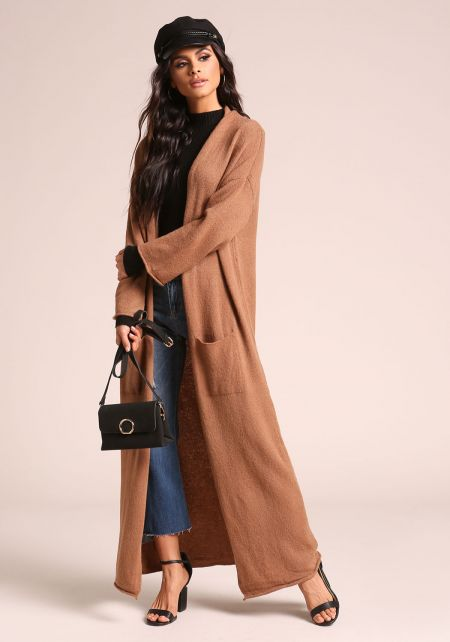Mocha Longlined Pocket Soft Knit Cardigan