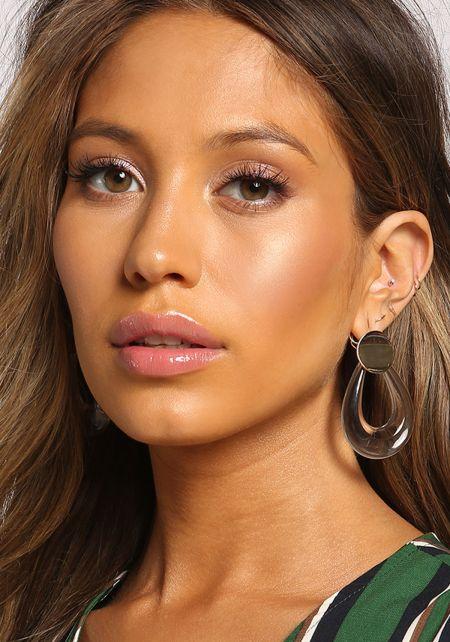 Gold Clear Teardrop Earrings