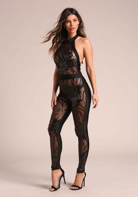 Black Sequin Mesh Halter Jumpsuit