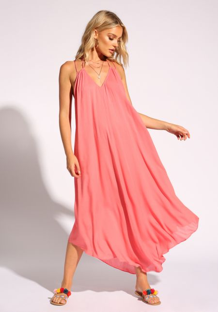 Coral Plunge Cross Strap Maxi Dress