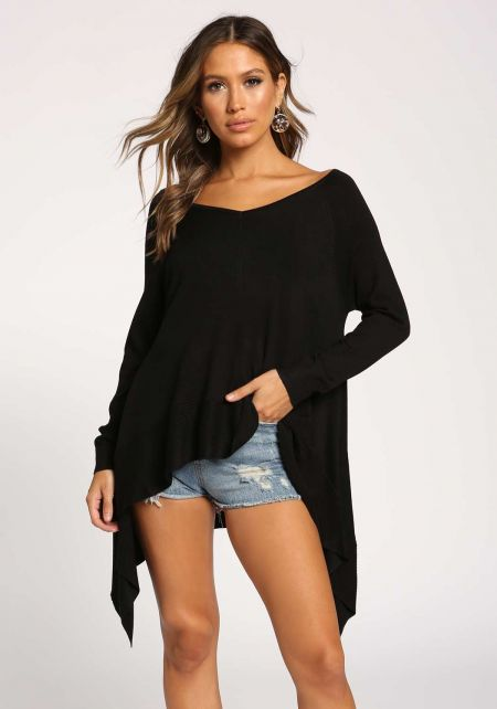 Black Side Pointed Sweater Top