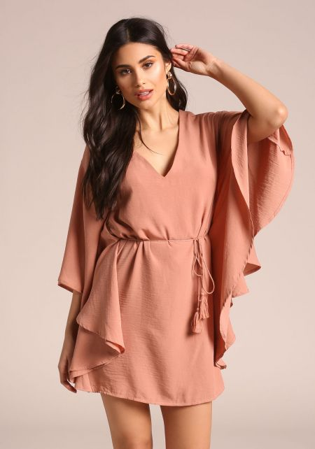 Dusty Rose Bat Wing Sleeve Tie Waist Dress