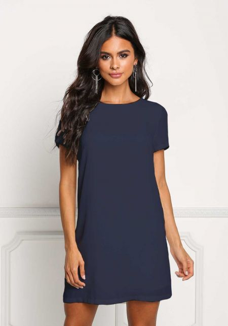 Navy Boxy Shift Dress