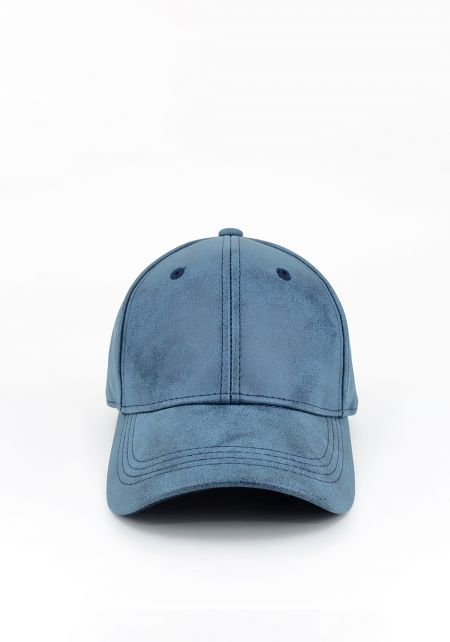 Denim Suedette Baseball Cap
