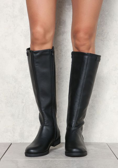 Black Knee High Leatherette Boots