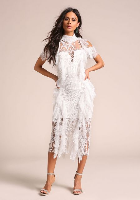 Ivory Fringe Embroidered Lace Midi Dress
