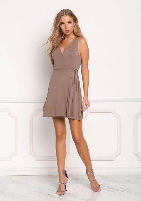 Mocha Ribbed Knit Wrap Shift Dress