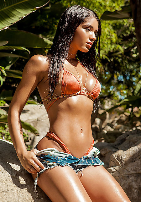 Copper Metallic Triangle Swimsuit Bikini Top