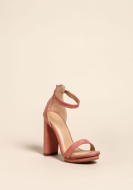 Mauve Suedette Platform Ankle Strap Heels