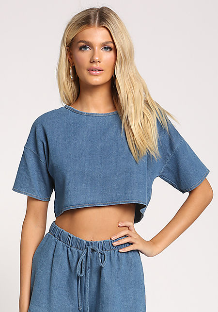 Denim Boxy Crop Top