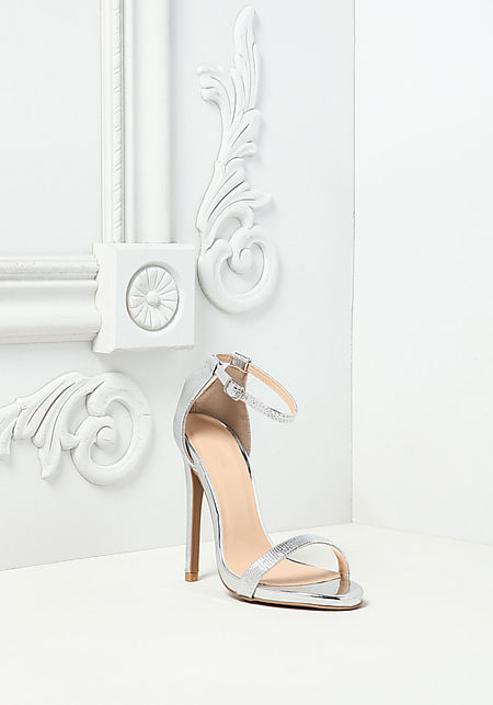 Silver Metallic Ankle Strap Heels