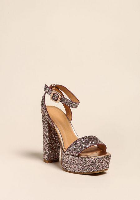 Blush Glitter Platform Heels