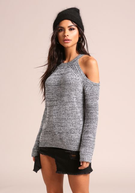 Heather Grey Cold Shoulder Thick Knit Sweater Top