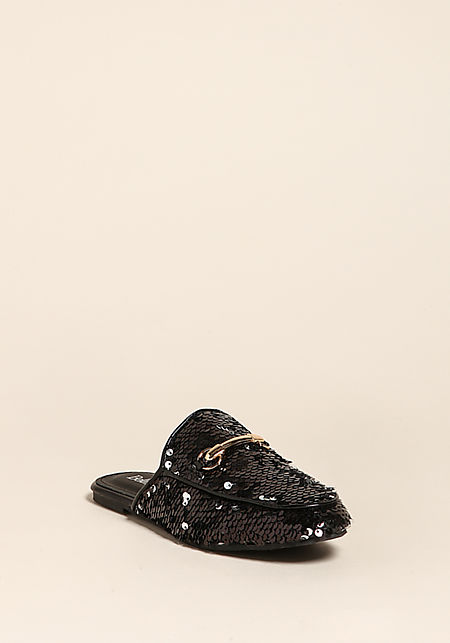 Black Sequin Loafer Slides