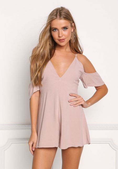 Mauve Low Back Lace Up Cold Shoulder Romper