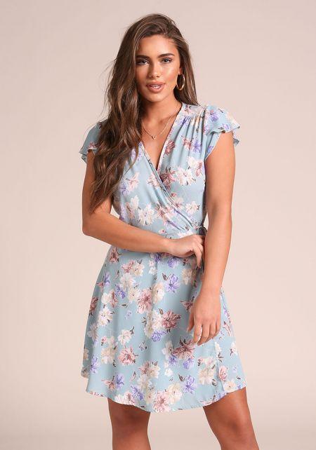 Dusty Blue Floral Deep V Wrap Dress