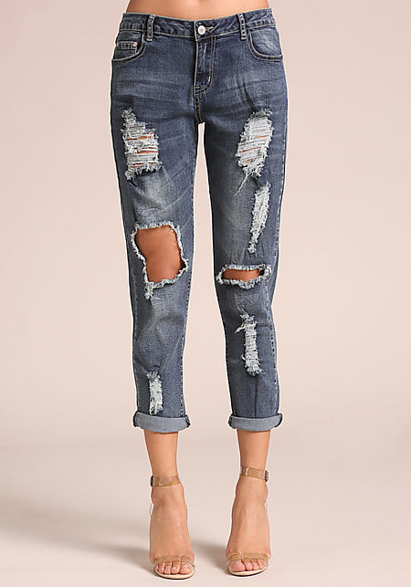 Denim Distressed Cut Out Low Rise Jeans