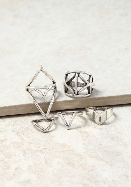 Silver Cut Out Assorted Rings Set
