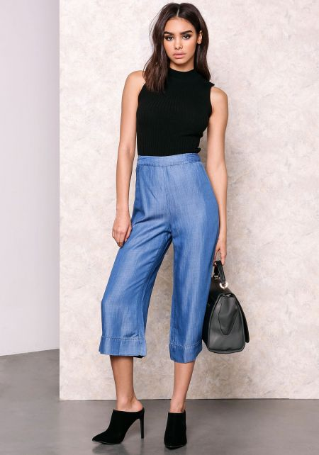 Wide Leg Tencel Culotte Pants