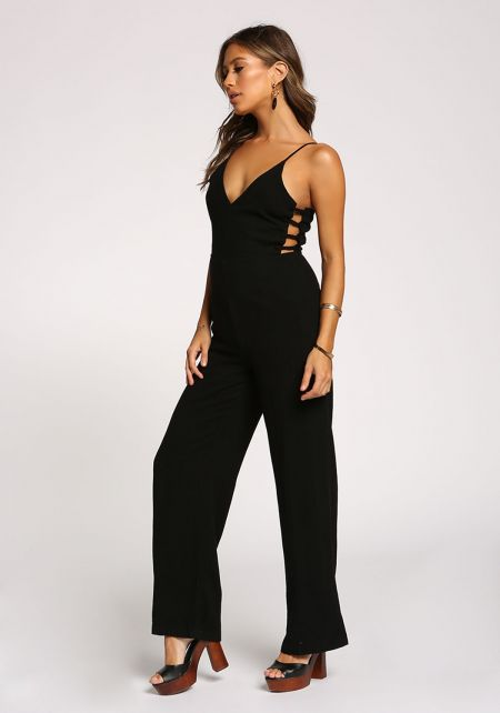 Black Linen Side Caged Plunge Jumpsuit