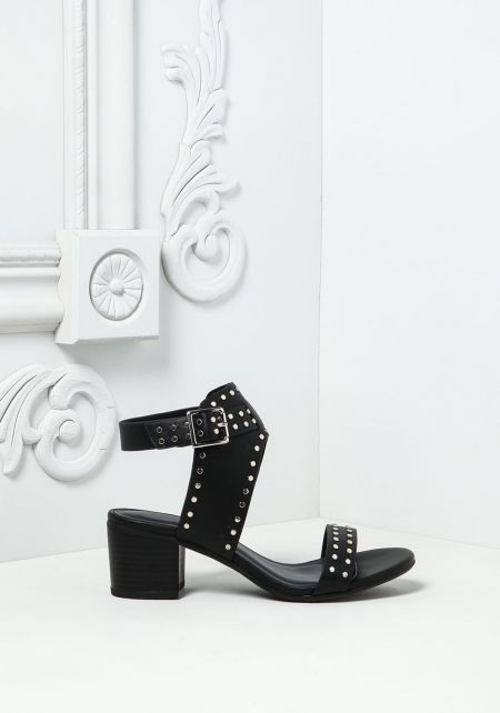 Black Studded Thick Strap Heels
