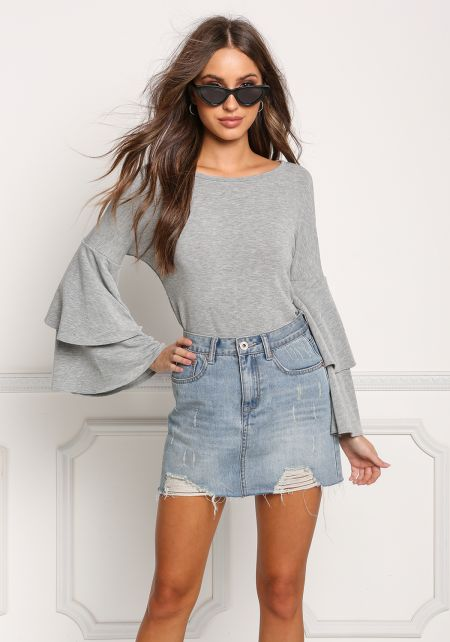 Heather Grey Layered Bell Sleeve Knit Top