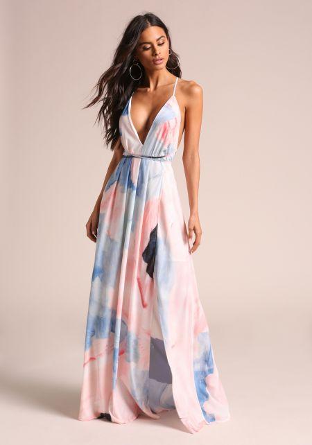 Multi Plunge Back Cross Strap Slit Maxi Dress