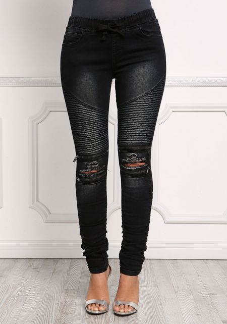 Black Elastic Embossed Zipper Trim Skinny Jeans