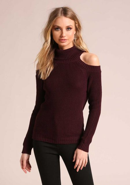 Plum Mock Neck Cold Shoulder Sweater Top