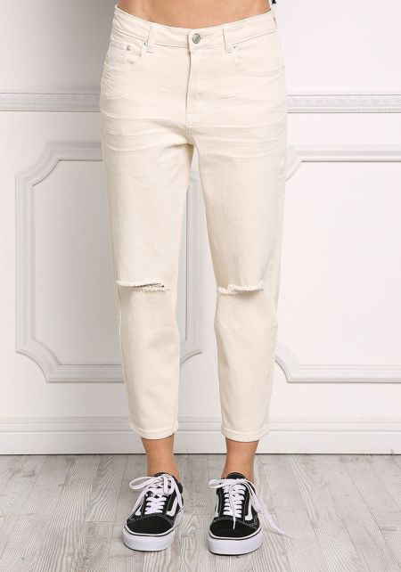 Cream Boxy Low Rise Knee Slit Capri Jeans