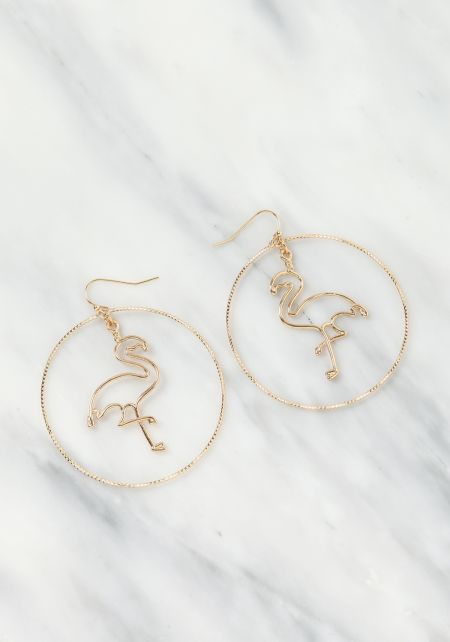 Gold Flamingo Hoop Earrings