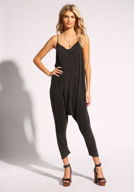 Black Low Cut Acid Wash Harem Jumpsuit