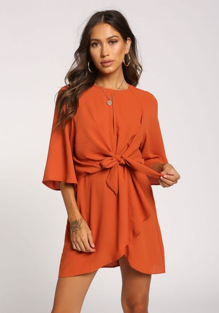 Rust Tie Front Surplice Dress