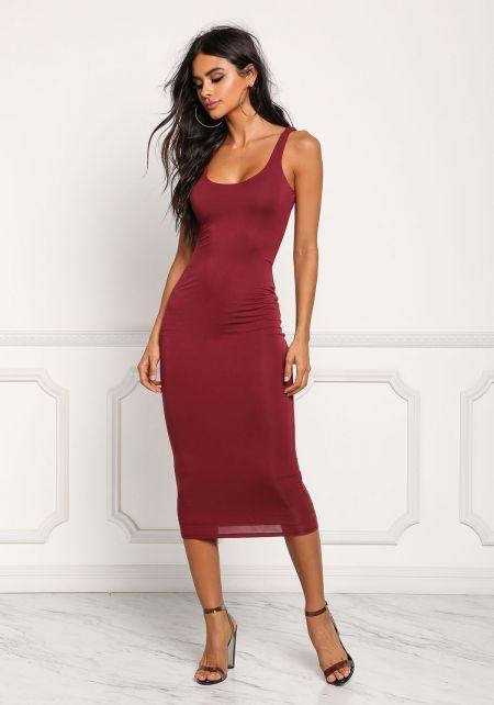 Burgundy Midi Bodycon Dress