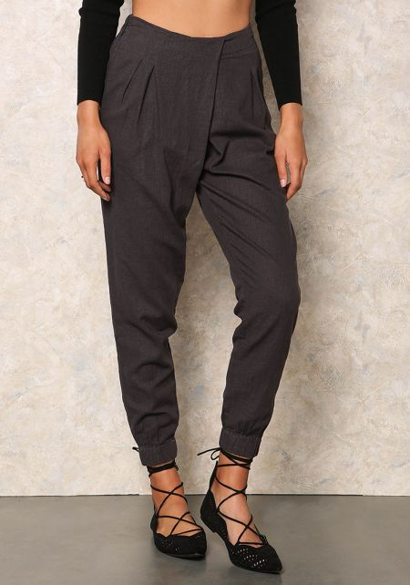 Charcoal Overlapped Linen Joggers