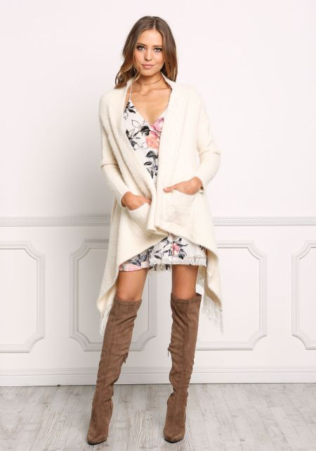Cream Fuzzy Knit Pointed Fringe Cardigan