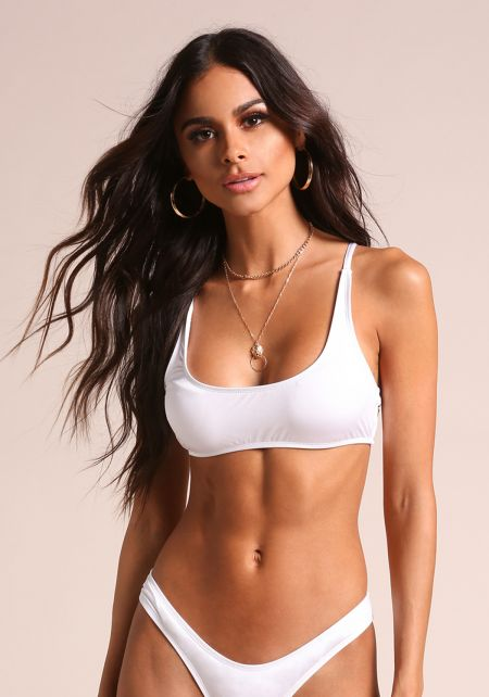 White Metallic Swimsuit Bikini Top