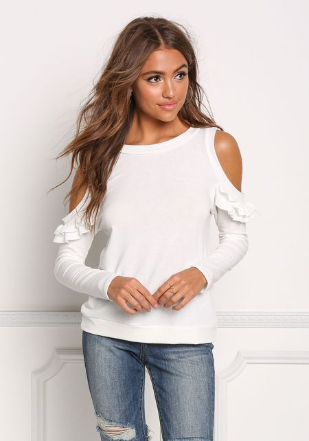 Ivory Cold Shoulder Ruffle Trim Knit Top