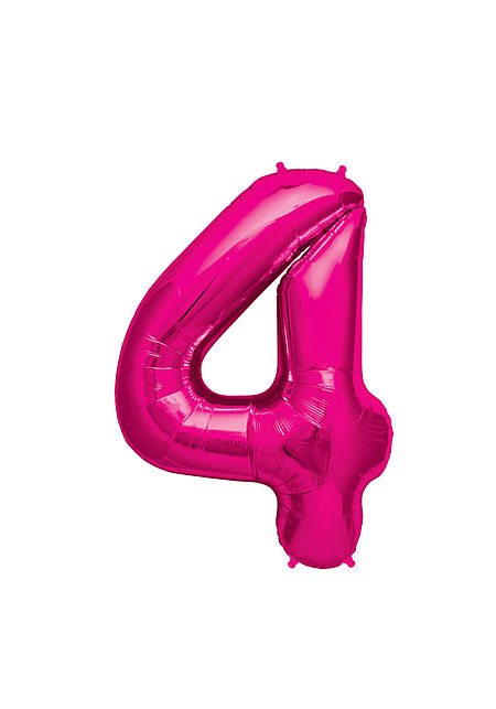 No. 4 Xtra Large Magenta Foil Balloon